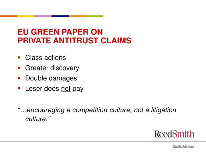 EU GREEN PAPER ON