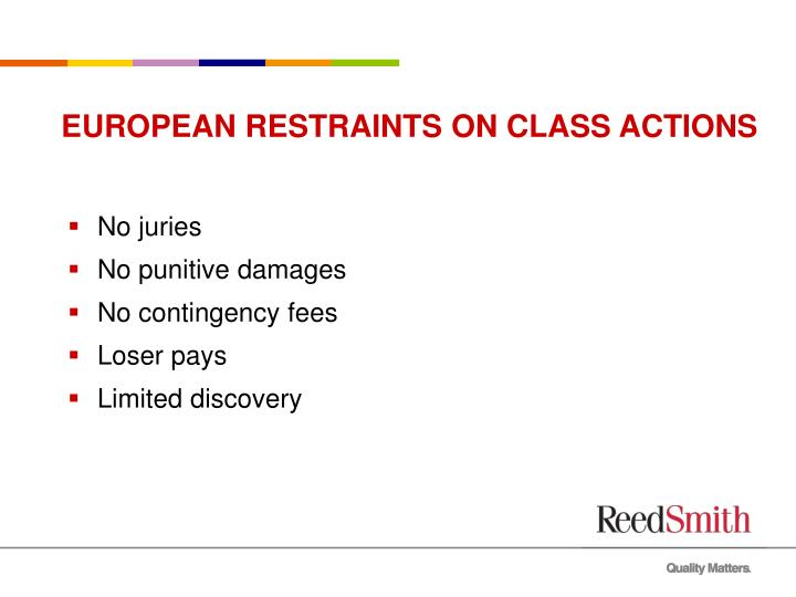 EUROPEAN RESTRAINTS ON CLASS ACTIONS