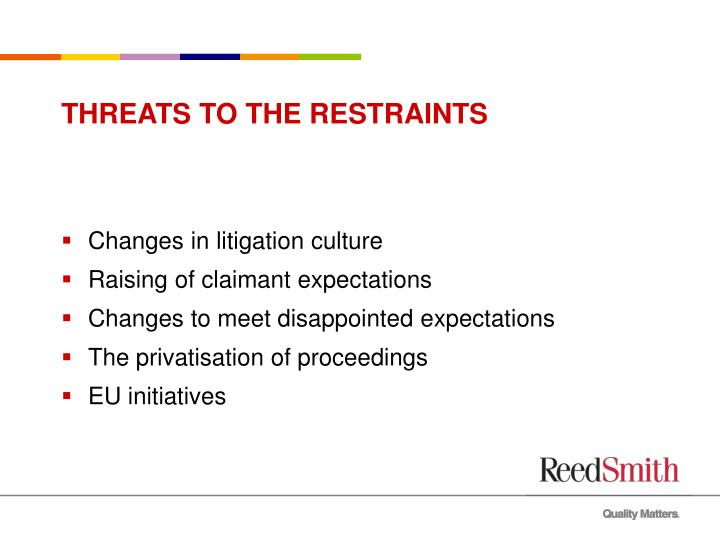 THREATS TO THE RESTRAINTS