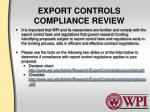 export controls compliance review