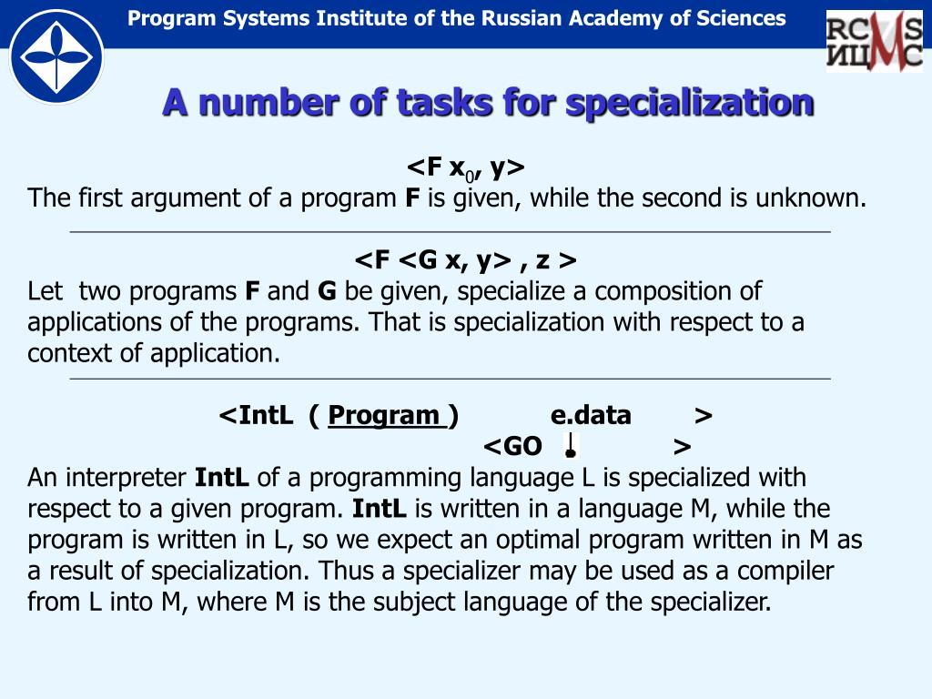 A number of tasks for specialization