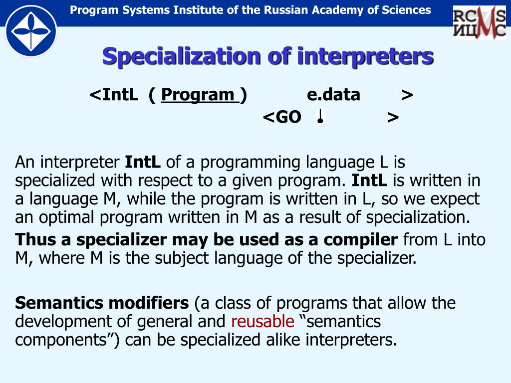 Specialization of interpreters