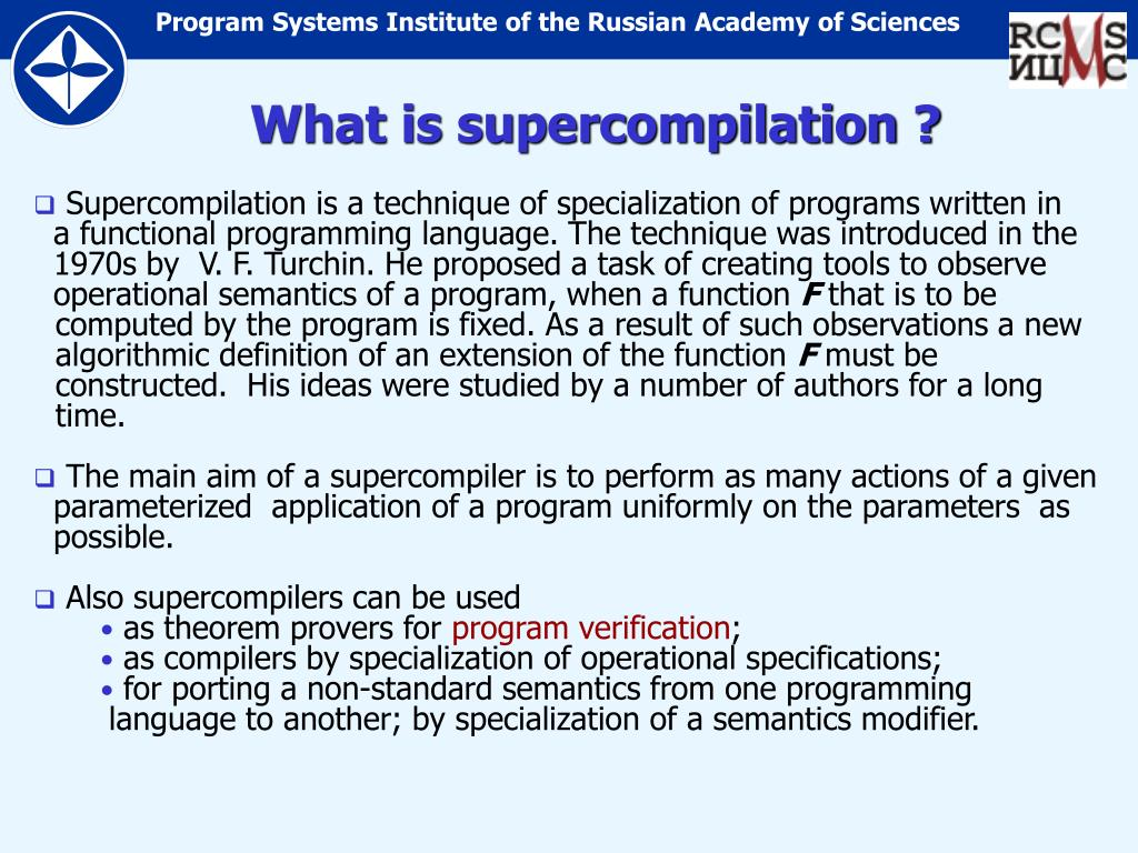 What is supercompilation ?