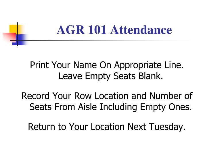 AGR 101 Attendance