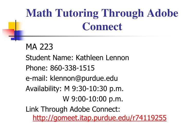 Math Tutoring Through Adobe Connect