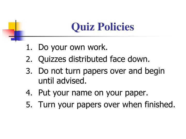 Quiz Policies