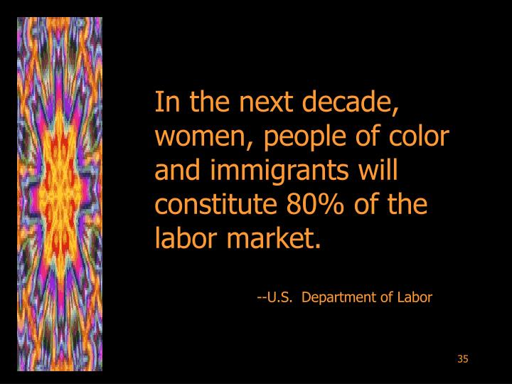 In the next decade, women, people of color and immigrants will constitute 80% of the labor market.