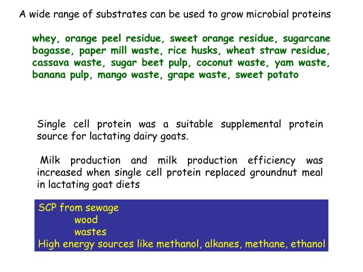 A wide range of substrates can be used to grow microbial proteins