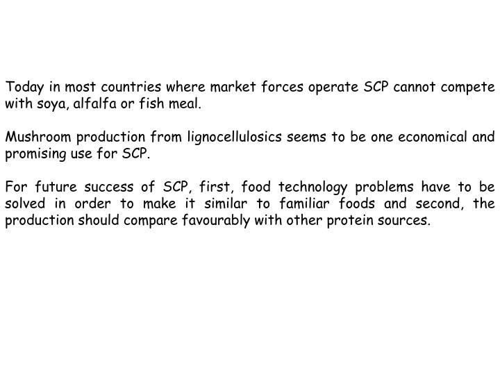 Today in most countries where market forces operate SCP cannot compete with soya, alfalfa or fish meal.