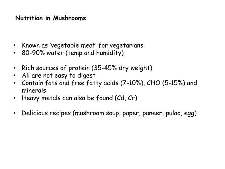 Nutrition in Mushrooms