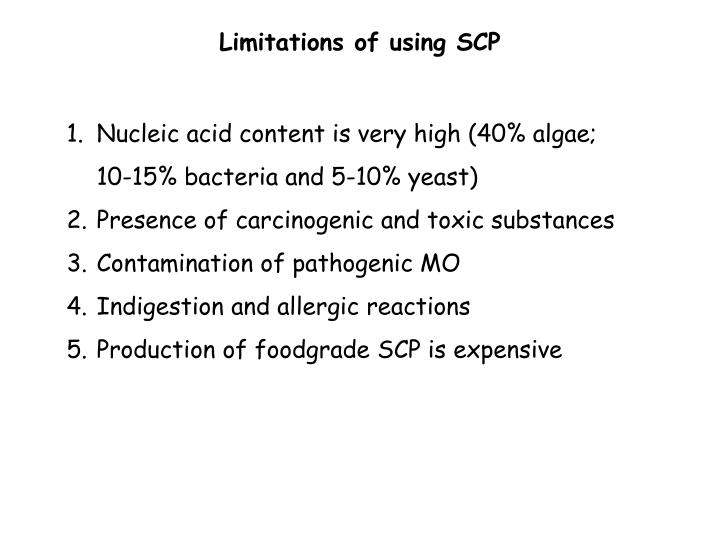 Limitations of using SCP