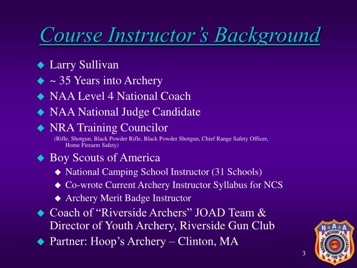 Course instructor s background