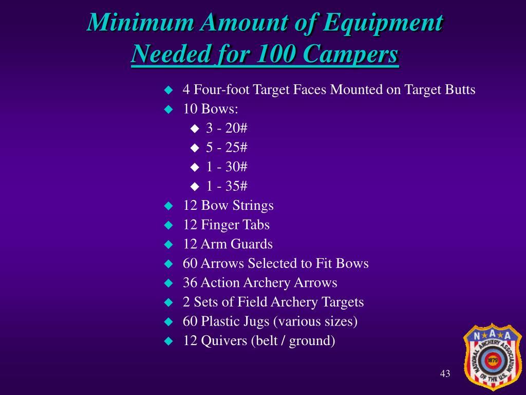 Minimum Amount of Equipment