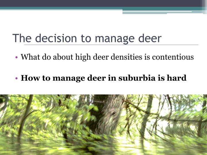 The decision to manage deer