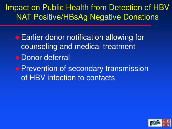 Impact on Public Health from Detection of HBV NAT Positive/HBsAg Negative Donations