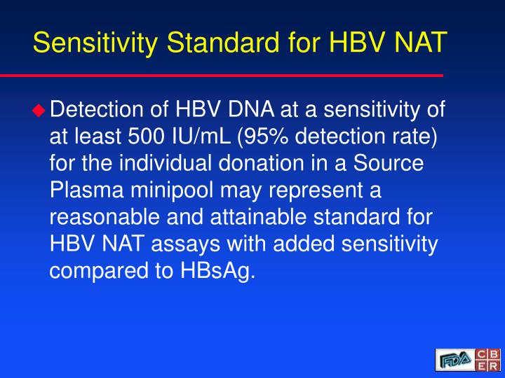 Sensitivity Standard for HBV NAT
