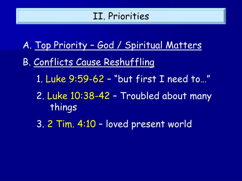 II. Priorities