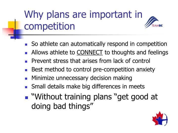 Why plans are important in competition