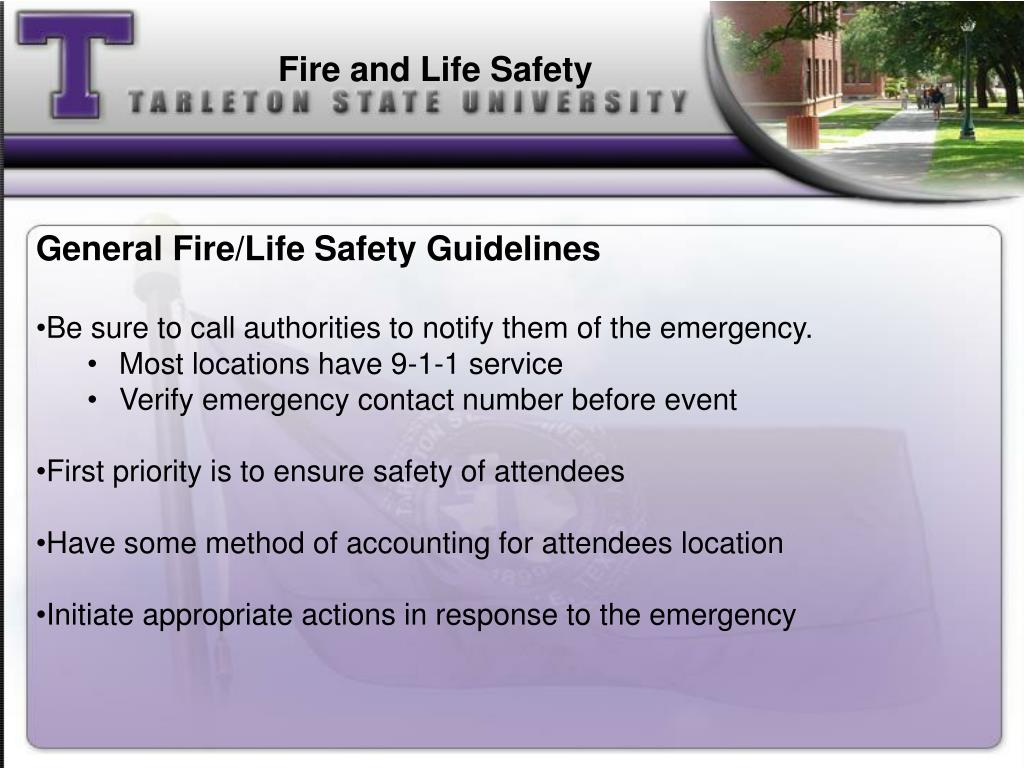 General Fire/Life Safety Guidelines
