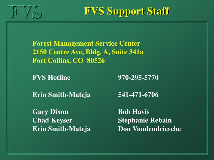 FVS Support Staff