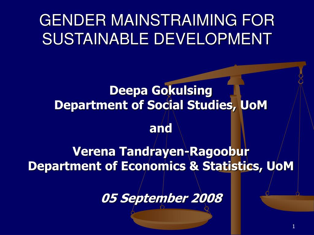 gender mainstraiming for sustainable development l.