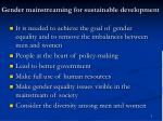 gender mainstreaming for sustainable development
