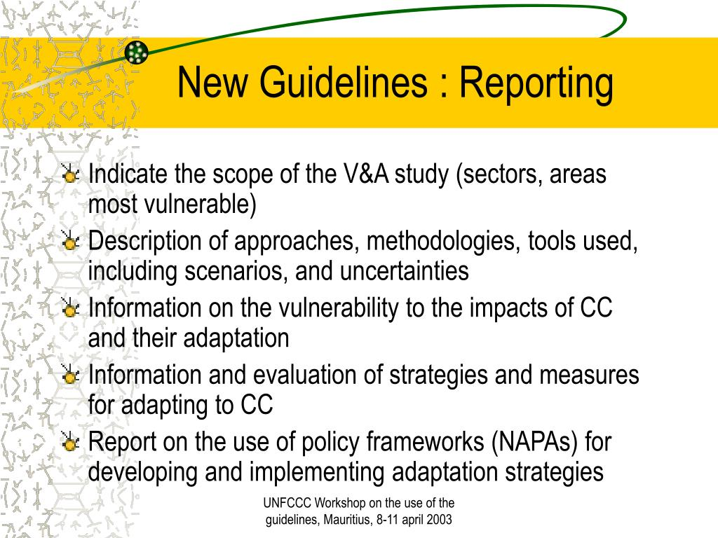 New Guidelines : Reporting