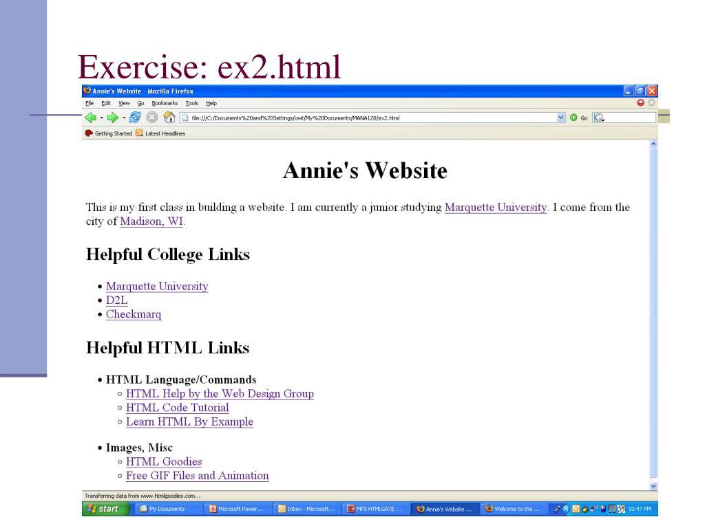 Exercise: ex2.html