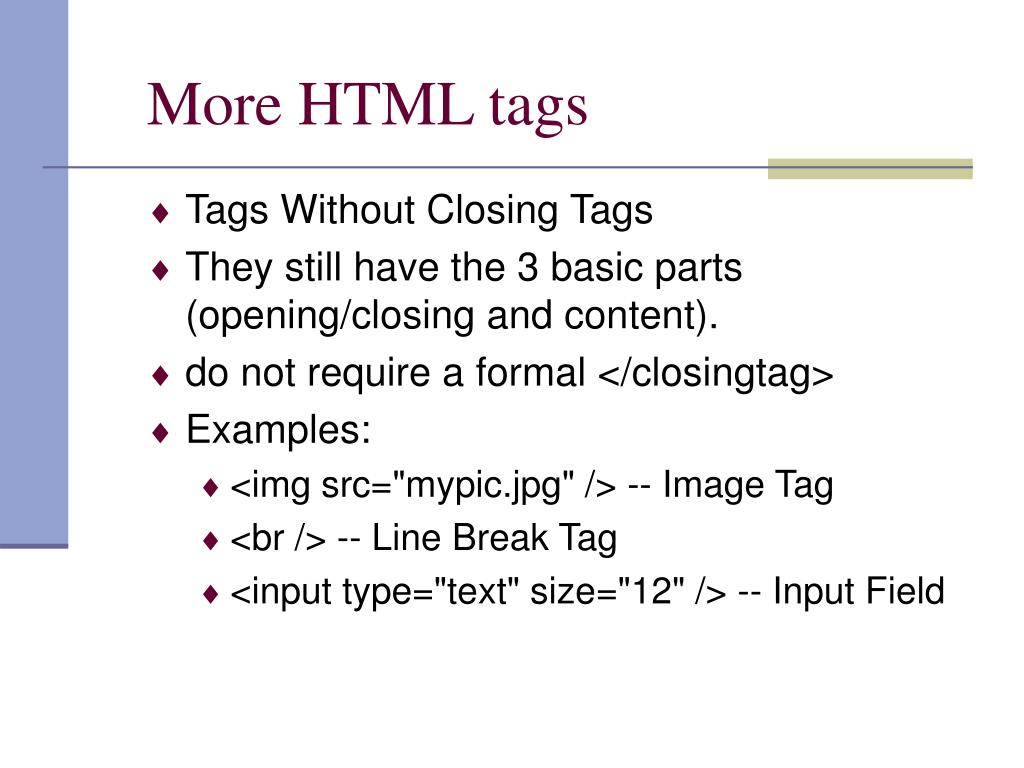 More HTML tags