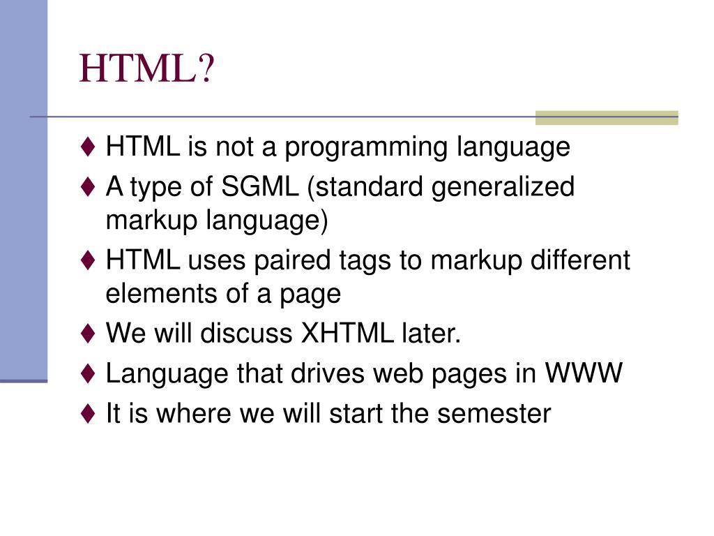 HTML?
