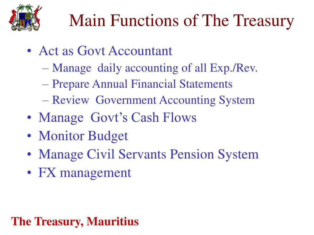 Main Functions of The Treasury
