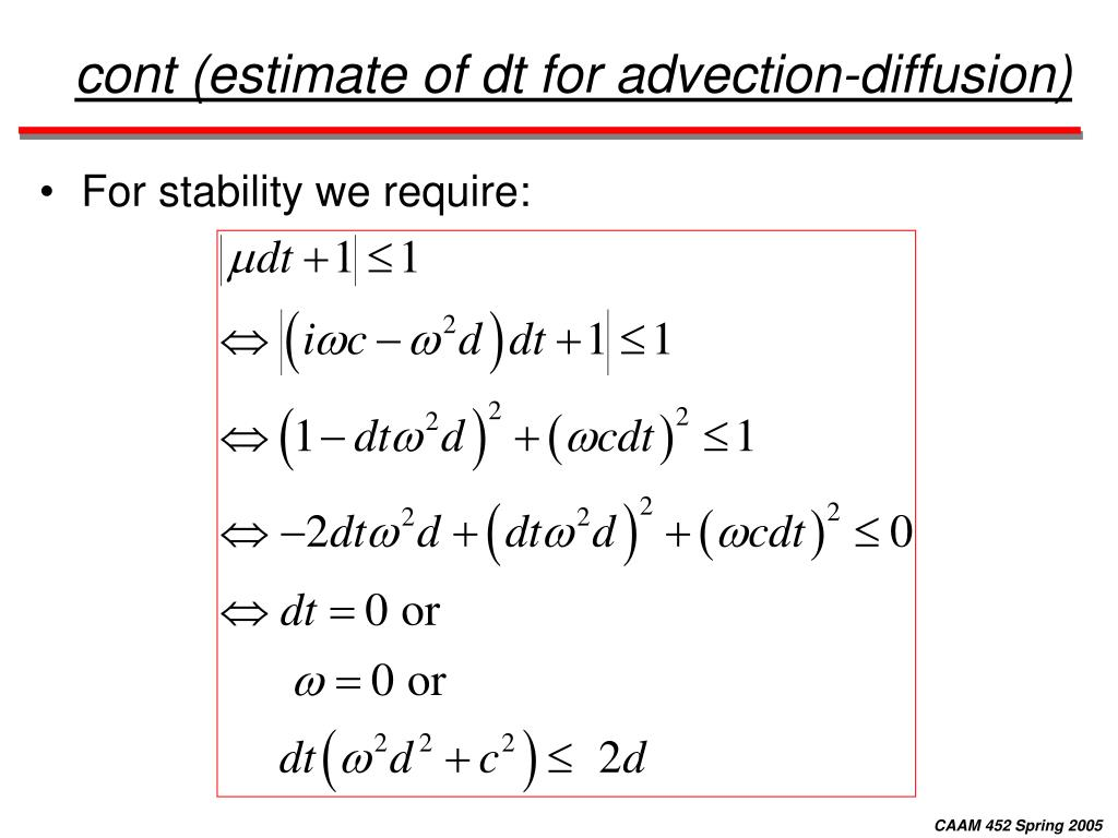 cont (estimate of dt for advection-diffusion)
