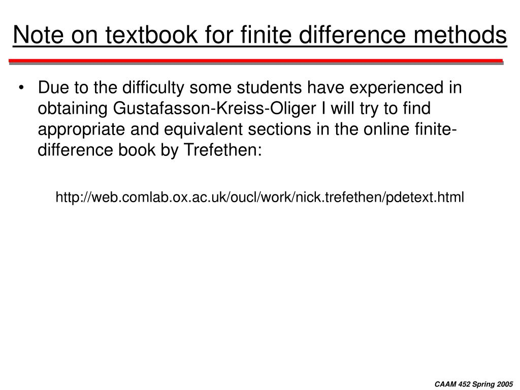 Note on textbook for finite difference methods
