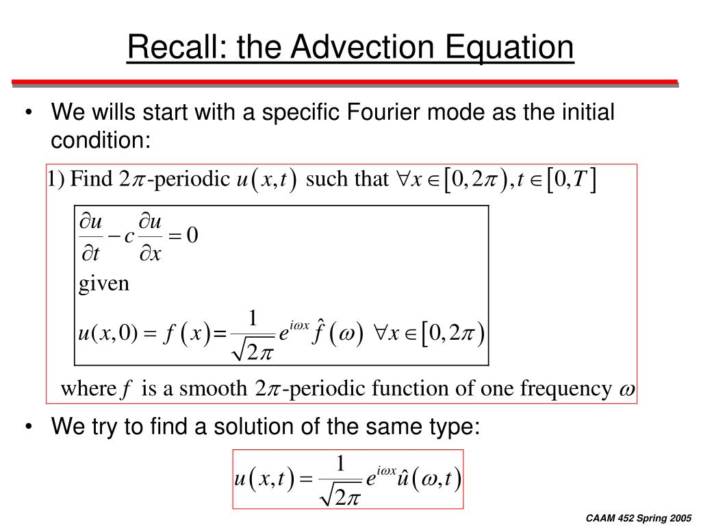 Recall: the Advection Equation