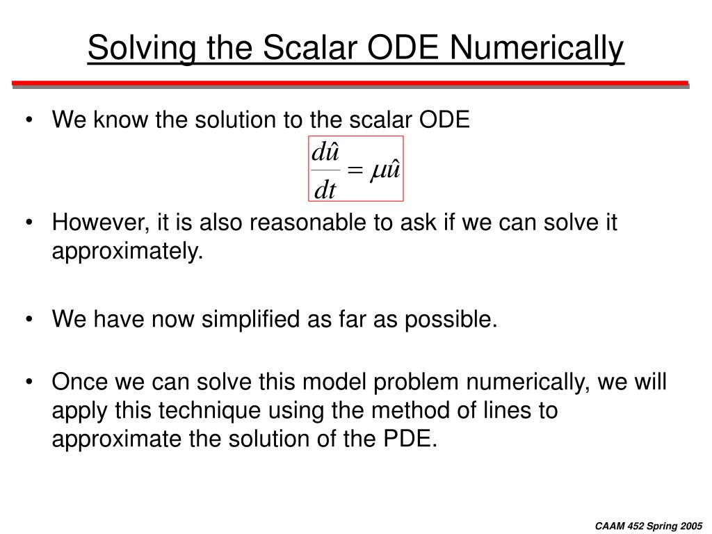 Solving the Scalar ODE Numerically