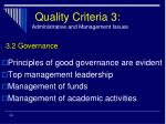 quality criteria 3 administrative and management issues24