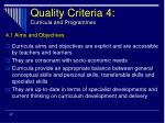 quality criteria 4 curricula and programmes