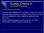 quality criteria 4 curricula and programmes30