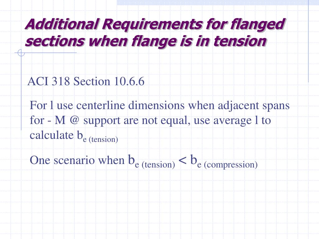 Additional Requirements for flanged sections when flange is in tension