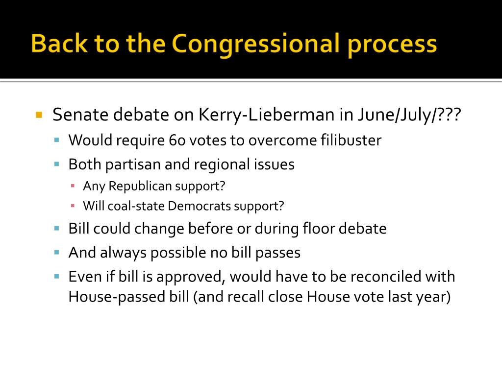 Back to the Congressional process