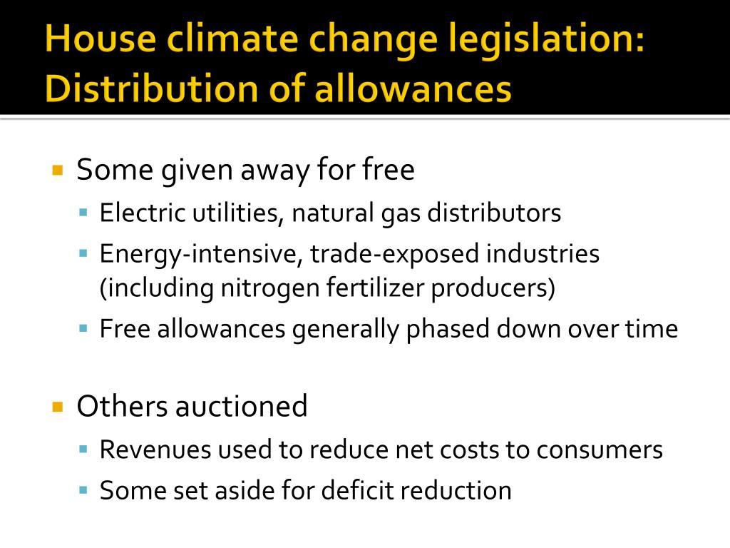 House climate change legislation: Distribution of allowances