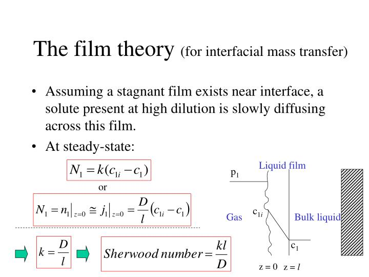 The film theory for interfacial mass transfer