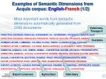 examples of semantic dimensions from acquis corpus english french 1 2