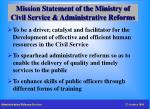 mission statement of the ministry of civil service administrative reforms