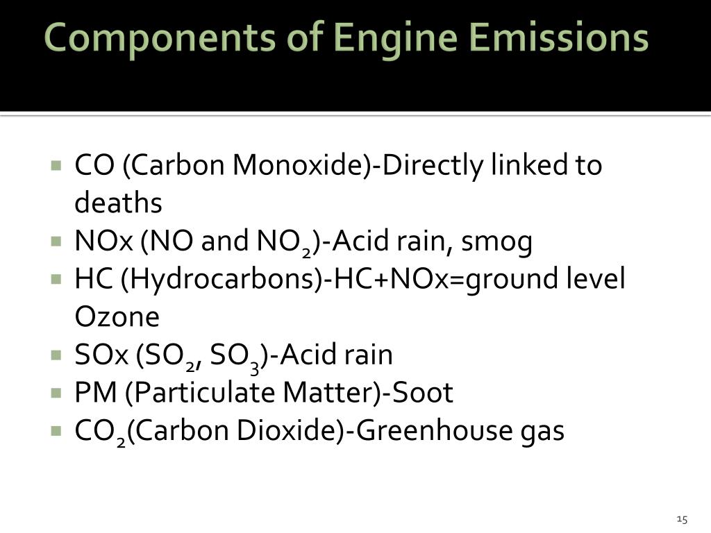Components of Engine Emissions
