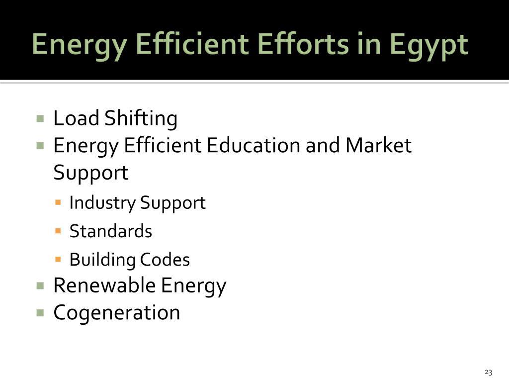 Energy Efficient Efforts in Egypt