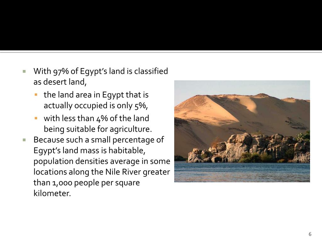 With 97% of Egypt's land is classified as desert land,
