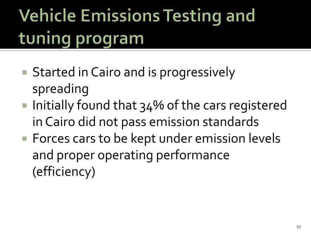 Vehicle Emissions Testing and tuning program