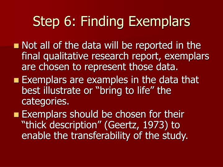 Step 6: Finding Exemplars