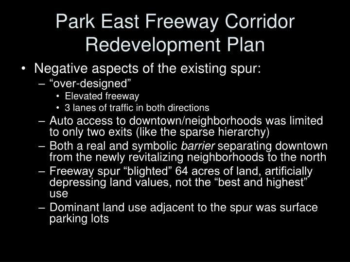 Park east freeway corridor redevelopment plan
